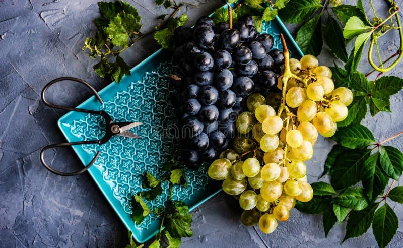 Uvas en la placa de cerámica foto de archivo