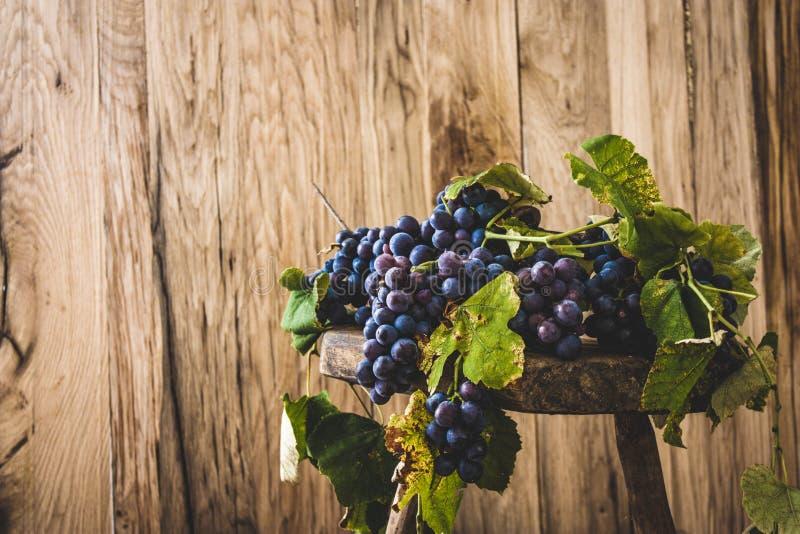 Uvas frescas en la madera imágenes de archivo libres de regalías
