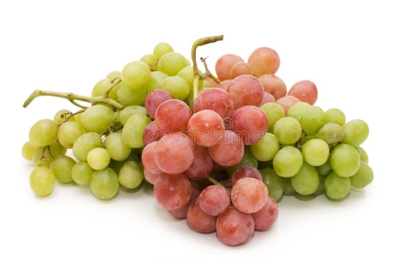 Uvas frescas vermelhas e verdes isoladas foto de stock royalty free