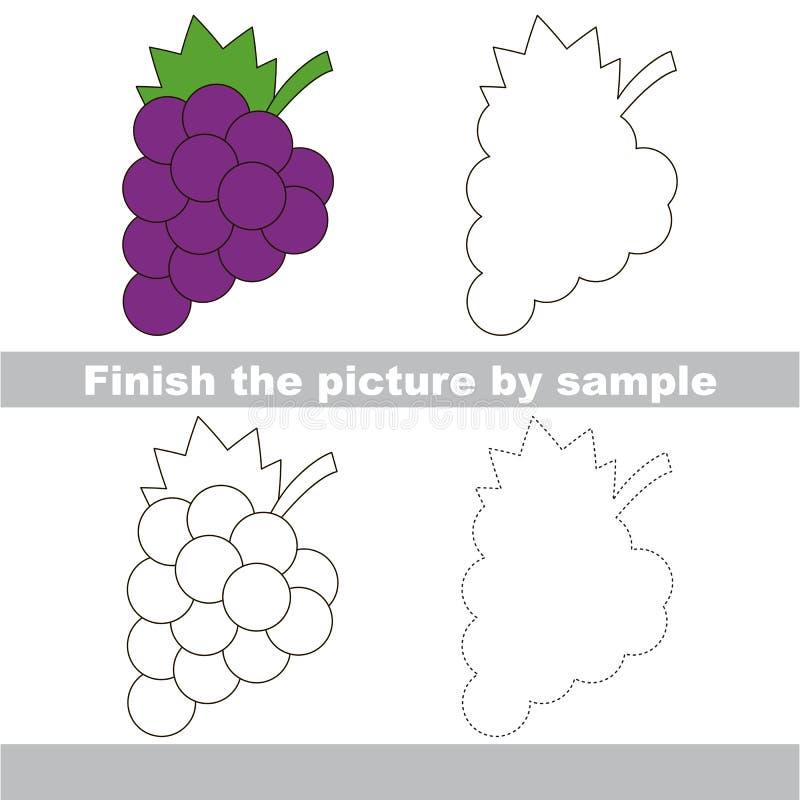 Uvas Hoja de trabajo del dibujo ilustración del vector