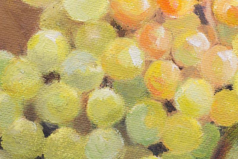 Uvas na lona, pintura a óleo real de uvas verdes perto acima ilustração royalty free