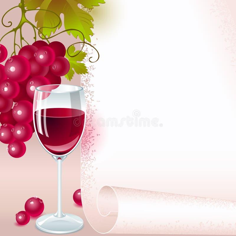 Uvas vermelhas com vinho. menu ilustração do vetor