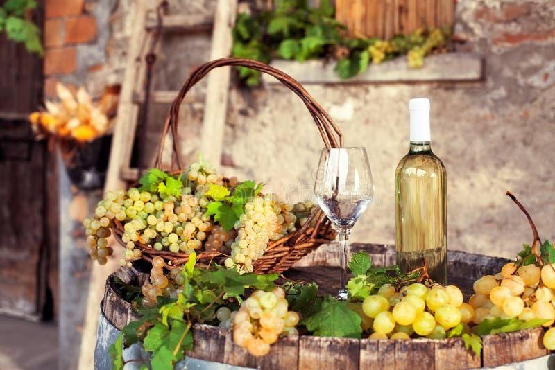 Uvas, vidrios vacíos, botella de vino blanco, granja vieja foto de archivo libre de regalías