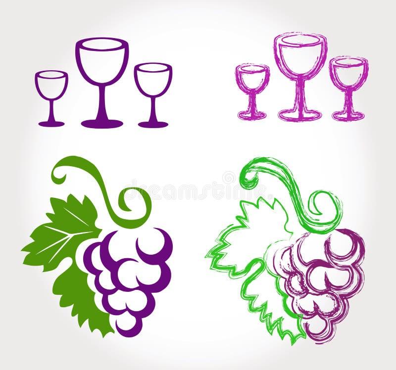Uvas y copas de vino imagenes de archivo