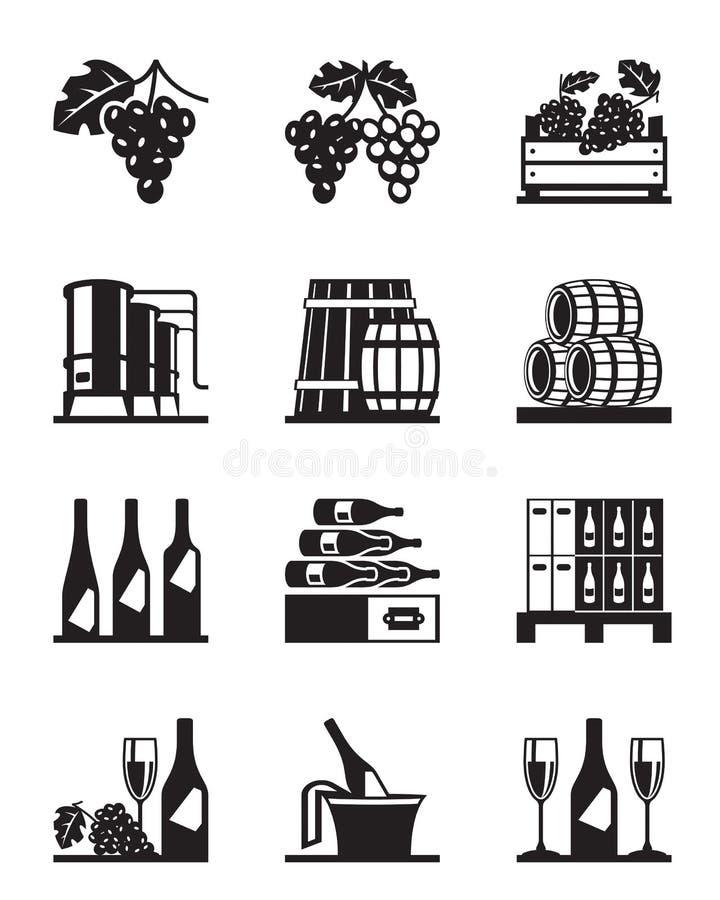Uvas y sistema del icono del vino ilustración del vector