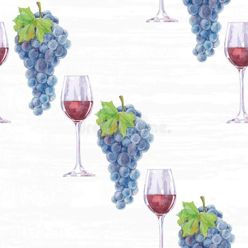Uvas y vino rojo en un vidrio, modelo inconsútil Acuarela Han stock de ilustración