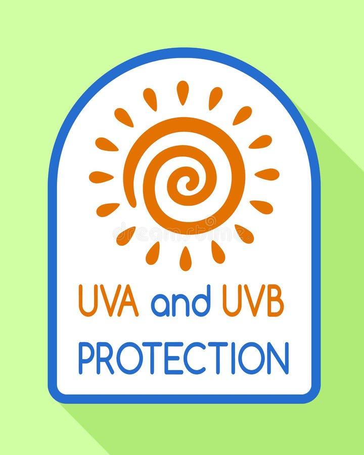 Uvb保护商标,平的样式 向量例证
