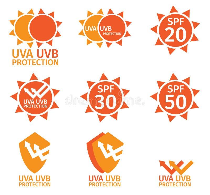 UVembleem, uva uvb en spf met oranje kleur stock illustratie