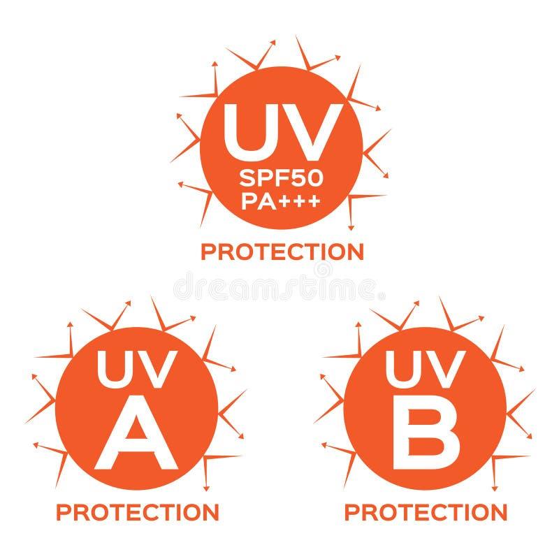 UVlogo, uva uvb und SPF mit orange Farbe lizenzfreie abbildung