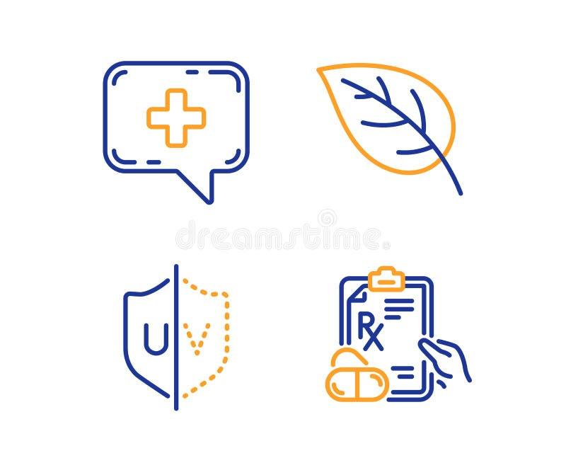 UVschutz, medizinisches Schwätzchen und Blattikonensatz Verschreibungspflichtige Medikamente unterzeichnen Vektor lizenzfreie abbildung
