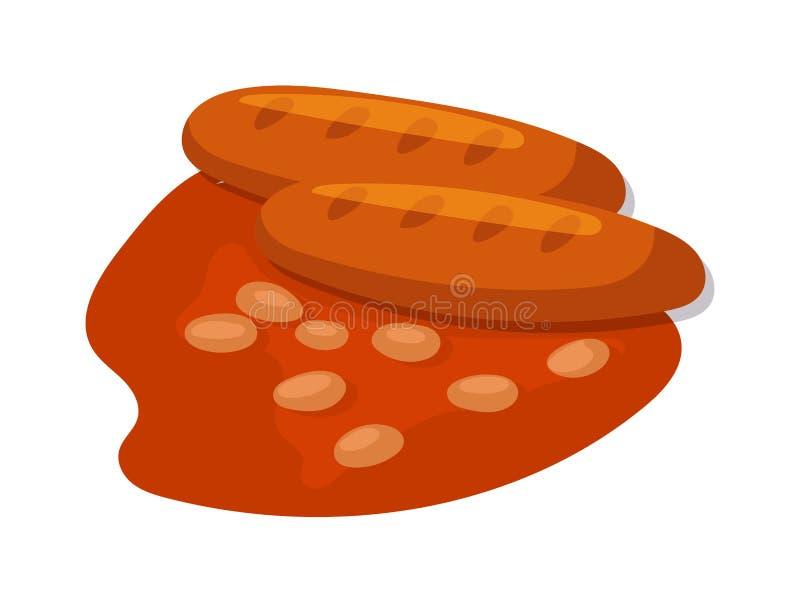 Uwędzone salami kiełbasy ikony ilustracji