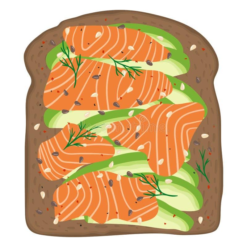 Uwędzony łosoś i avocado na ciemnym życie wznosimy toast chleb Wyśmienicie avocado i lox kanapka również zwrócić corel ilustracji ilustracji