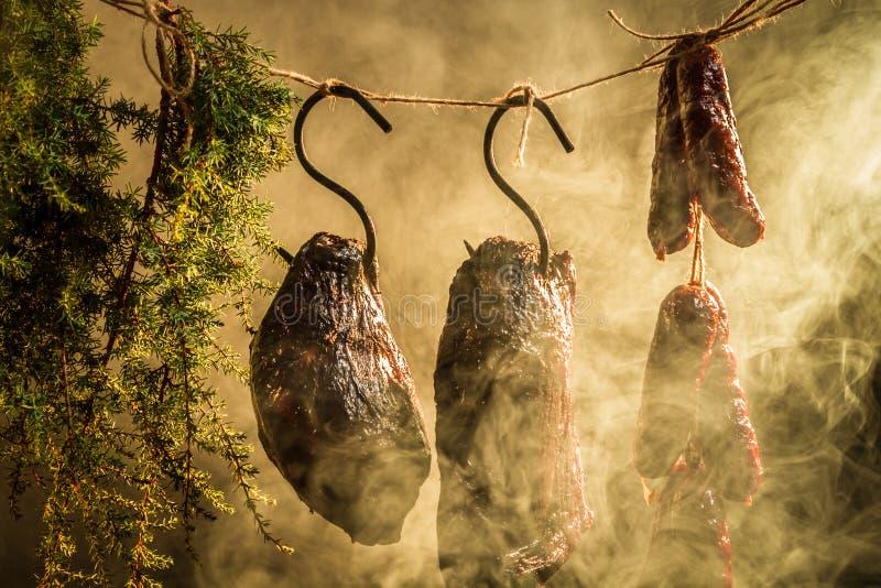 Uwędzony baleron naturalnym dymem obrazy stock