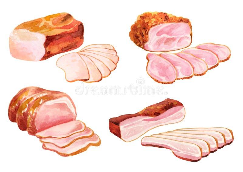 Uwędzony mięso set akwarela ilustracji