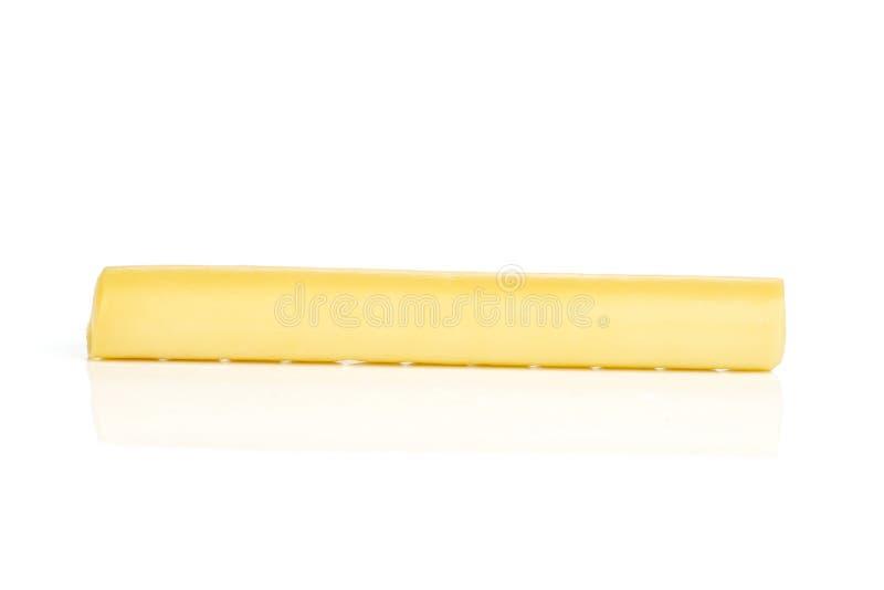 Uwędzony slovak smyczkowego sera kij na bielu zdjęcie royalty free