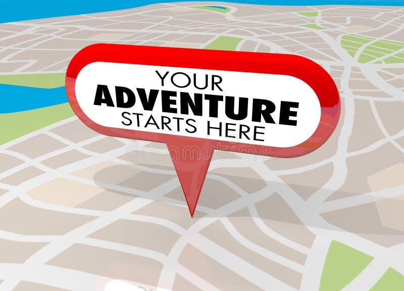 Uw Avonturenbegin brengt hier Pin Fun Begins Now 3d Illustratio in kaart vector illustratie
