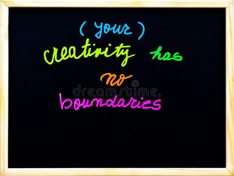Uw creativiteit heeft geen grenzen stock afbeeldingen