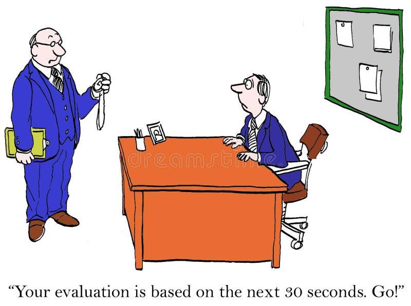 Uw evaluatie zal op 30 seconden worden gebaseerd stock illustratie