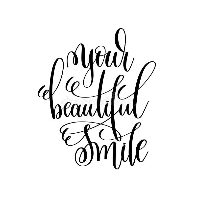 Uw mooie kalligrafie van de glimlach zwart-witte moderne borstel vector illustratie