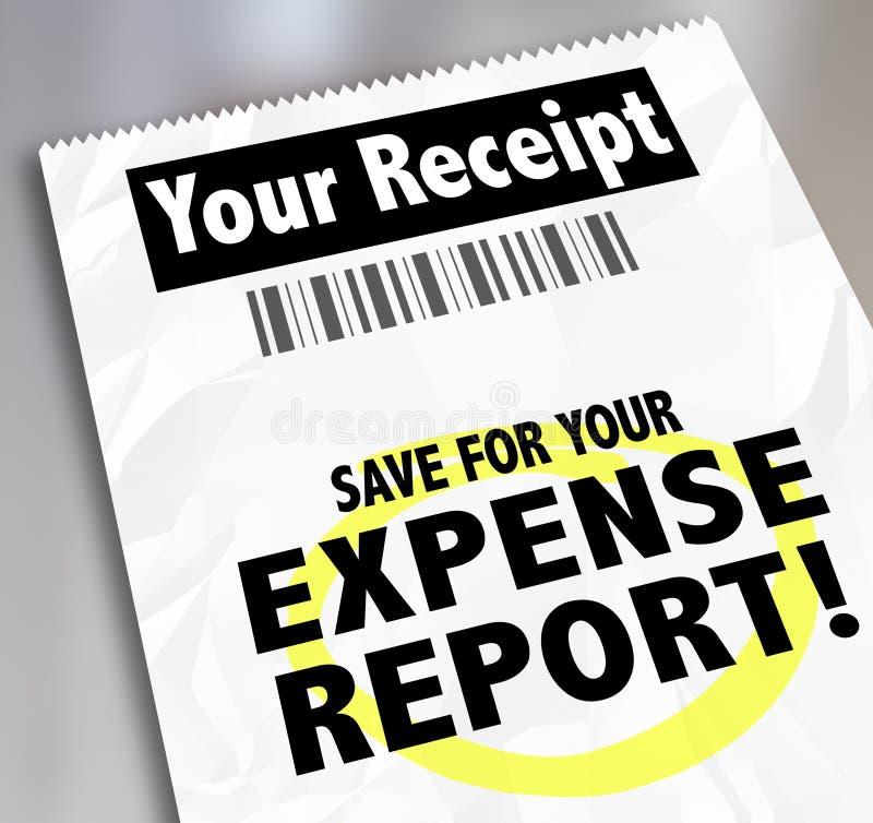 Uw Ontvangstbewijs spaart voor de Betalingsdocument van het Uitgavenrapport royalty-vrije illustratie