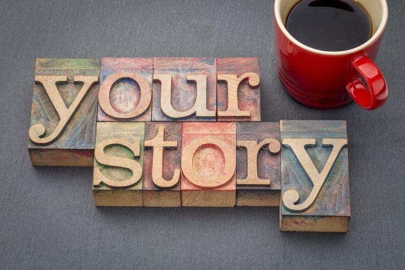 Uw samenvatting van het verhaalwoord in houten type royalty-vrije stock foto's