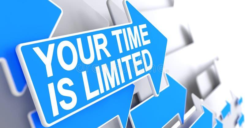 Uw Time Is Limited - Etiket op de Blauwe Wijzer 3d vector illustratie