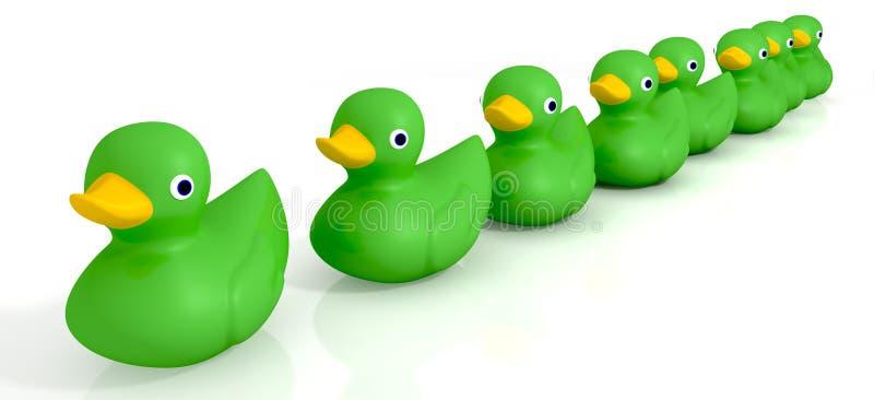 Uw Toy Rubber Ducks In een Rij vector illustratie