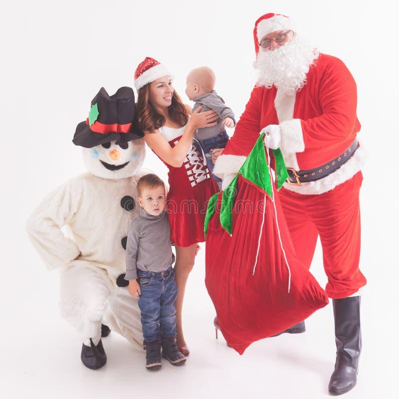 Uw vader is Kerstman Geeft giftdozen bij Kerstmis stock fotografie
