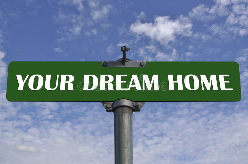 Uw verkeersteken van het droomhuis stock afbeeldingen
