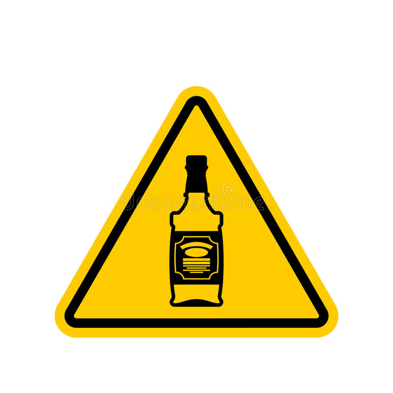 Uwaga alkohol Butelka whisky na żółtym trójboku Droga si royalty ilustracja