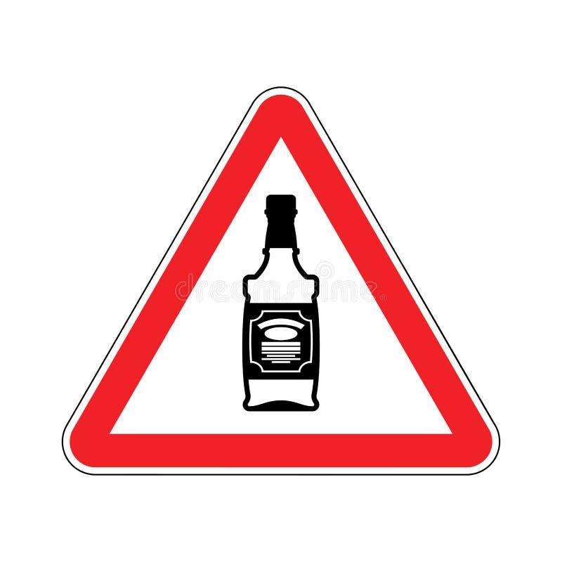 Uwaga alkohol Butelka whisky na czerwonym trójboku kąta błękitny drogowego znaka odcienia widok szeroki royalty ilustracja