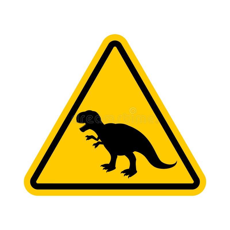 Uwaga dinosaur Niebezpieczeństwa żółty drogowy znak Prehistoryczny pre ilustracji
