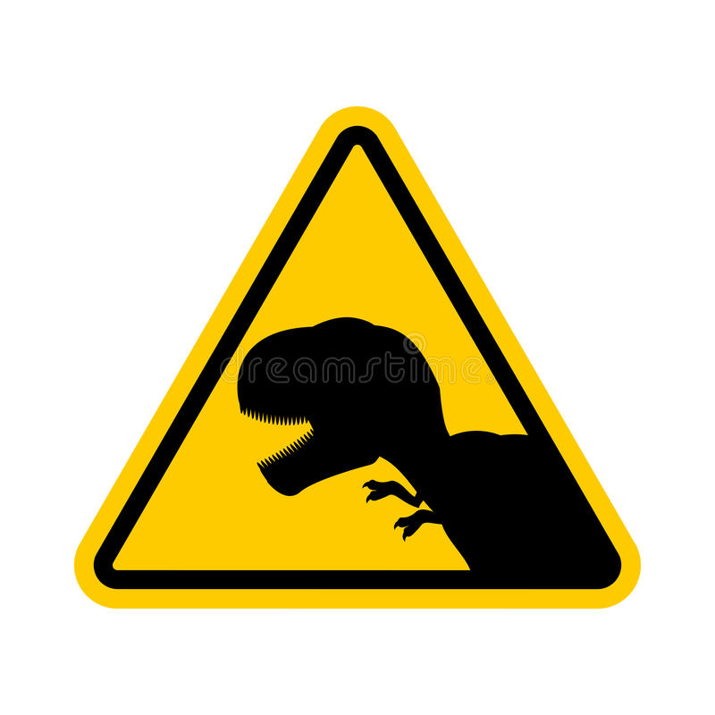 Uwaga dinosaur Niebezpieczeństwa żółty drogowy znak Prehistoryczny pre ilustracja wektor
