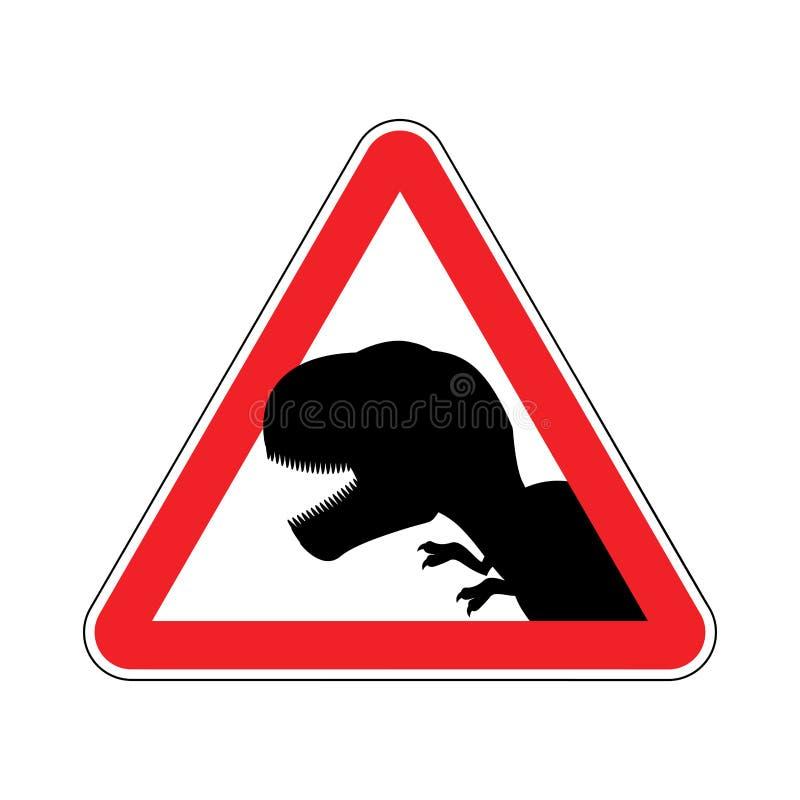 Uwaga dinosaur Niebezpieczeństwa czerwony drogowy znak Prehistoryczny predat royalty ilustracja