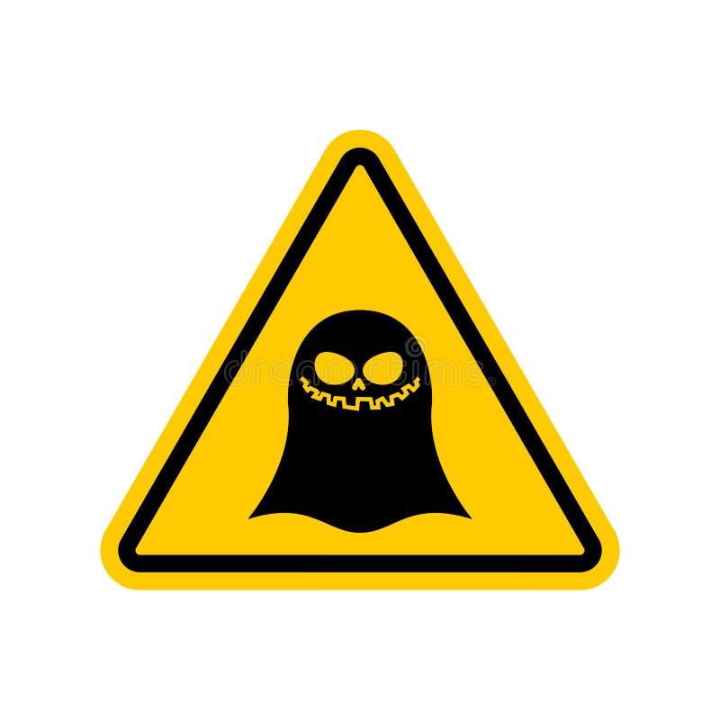 Uwaga ducha niebezpieczeństwa żółty drogowy znak widmo ostrożność royalty ilustracja