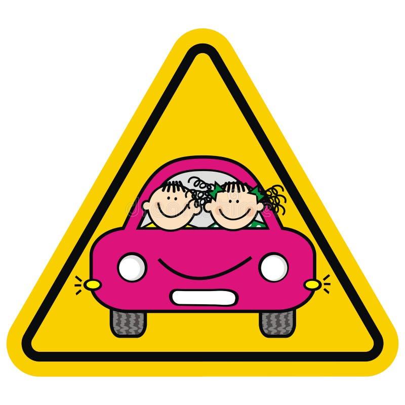 Uwaga, dzieciaki na samochodzie Żółta trójbok rama ilustracja wektor