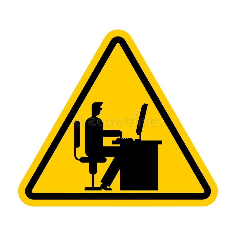 Uwagi Biurowa praca Ostrożność kierownika praca przy komputerem Workpla ilustracja wektor