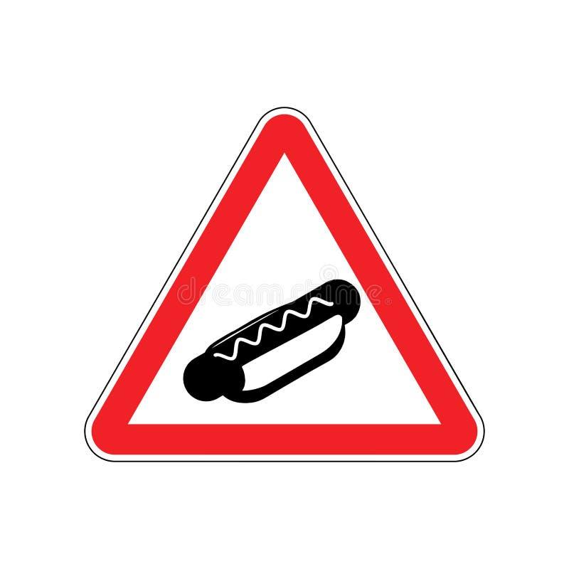 Uwagi hot dog Niebezpieczeństwa czerwony drogowy znak Fast food ostrożność ilustracja wektor