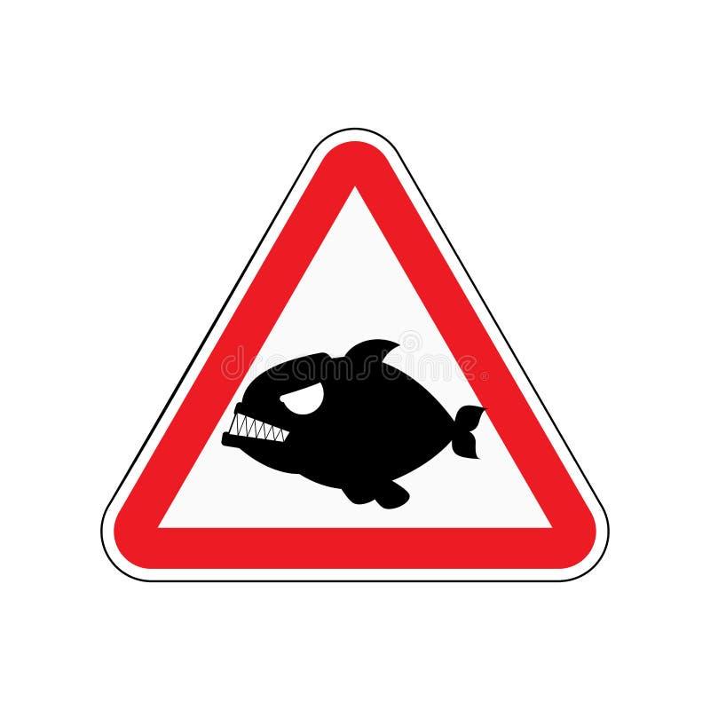 Uwagi piranha Niebezpieczeństwa czerwony drogowy znak Drapieżczy rybi Caut royalty ilustracja