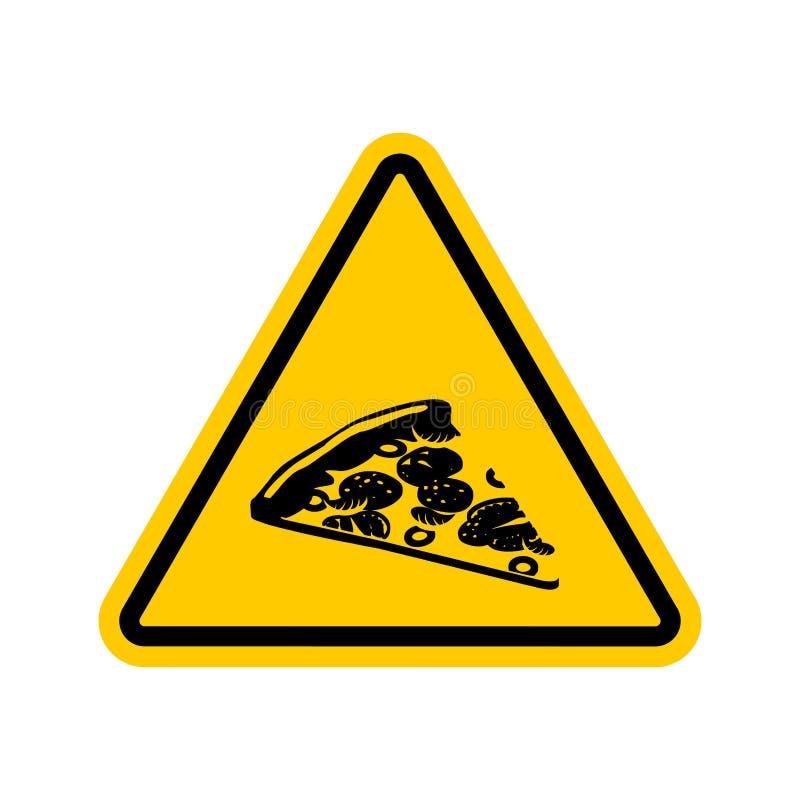 Uwagi pizza Niebezpieczeństwa żółty drogowy znak Fast food ostrożność royalty ilustracja