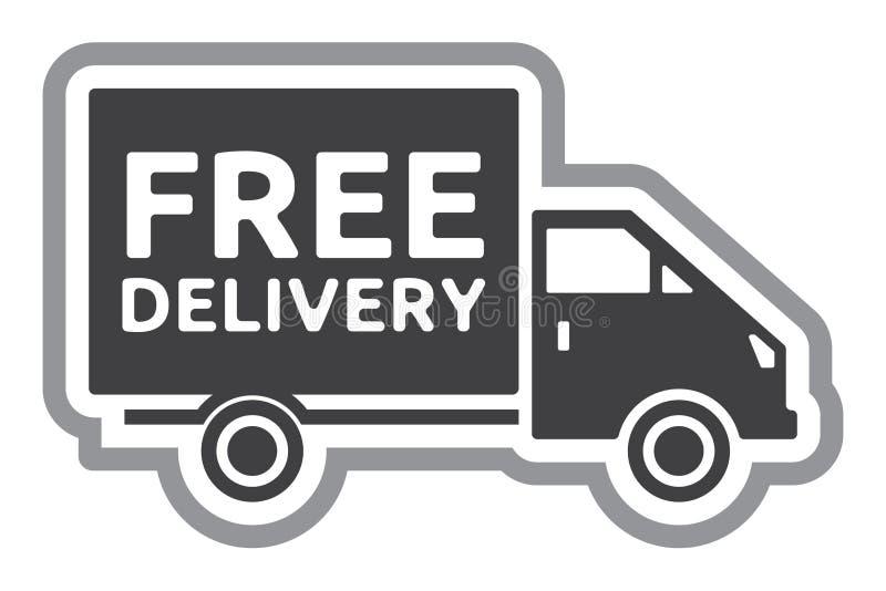Uwalnia doręczeniową ciężarówkę - bezpłatna wysyłki etykietka ilustracji