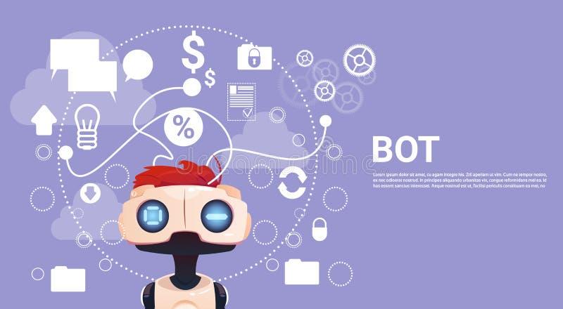 Uwalnia gadki larwę, robot pomocy Wirtualnego element strona internetowa Lub wiszących ozdób zastosowania, Sztucznej inteligenci  ilustracja wektor