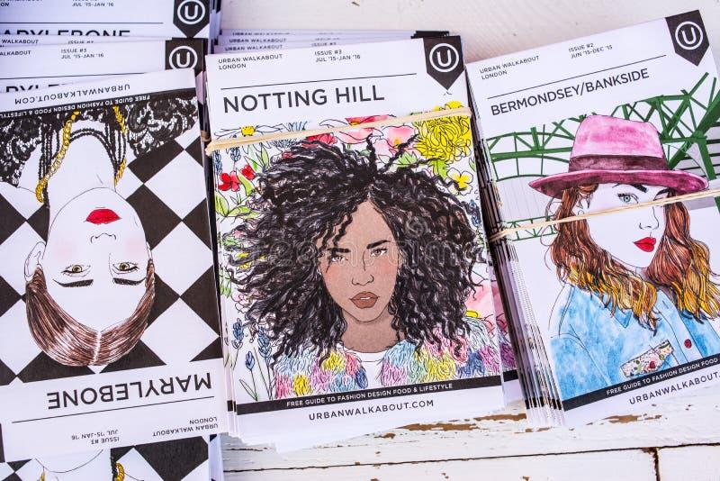 Uwalnia papierowych przewdoników pokazuje Londyńskiego moda projekta jedzenie i styl życia obrazy stock