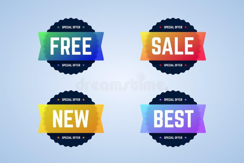 Uwalnia, sprzedaży, nowych i najlepszy round odznaki, sztandary ilustracja wektor