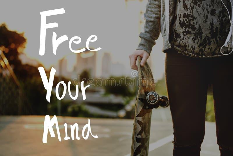Uwalnia Twój umysłu relaksu chłodu Pozytywnego pojęcie zdjęcie royalty free