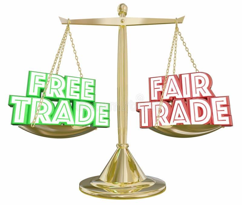 Uwalnia Vs uczciwy handel skala importa Eksportowi Waży wybory 3d Illus ilustracja wektor