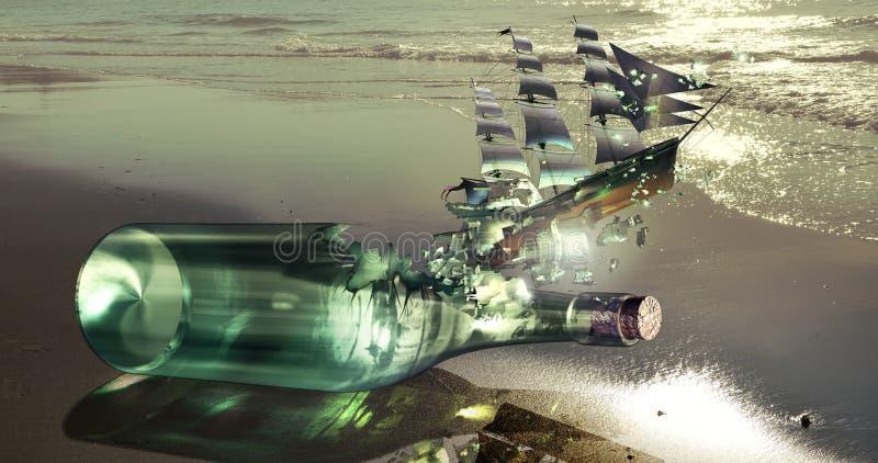Uwalniam butelkował statek royalty ilustracja