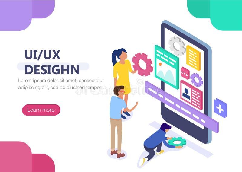 UX/έννοια σχεδίου UI με το χαρακτήρα Έννοια για το infographics, έμβλημα Ιστού απεικόνιση αποθεμάτων