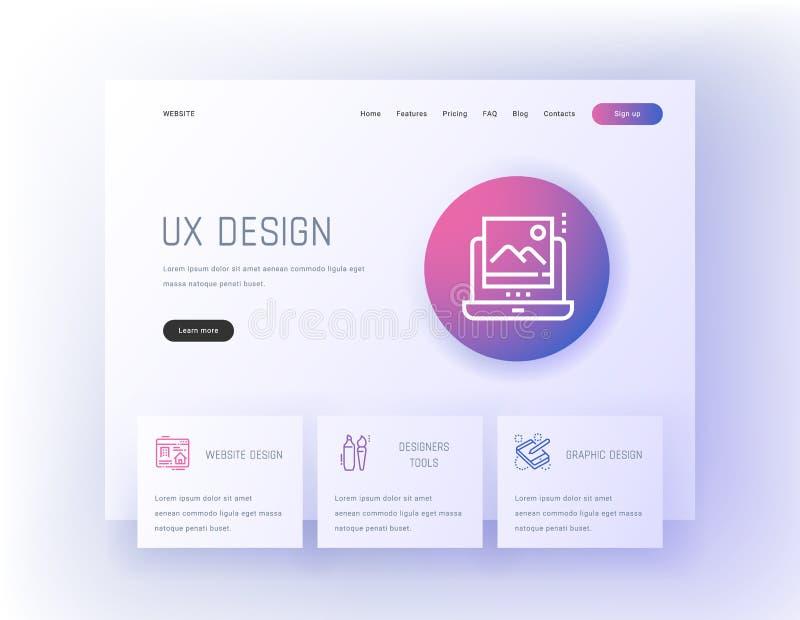 UX σχέδιο, ιστοχώρος, γραφικός, εργαλεία σχεδιαστών που προσγειώνονται το πρότυπο σελίδων απεικόνιση αποθεμάτων