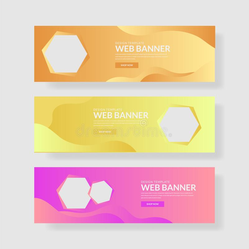 Ux d'ui de bannière de site Web Fond géométrique coloré Formes liquides avec des gradients à la mode illustration stock